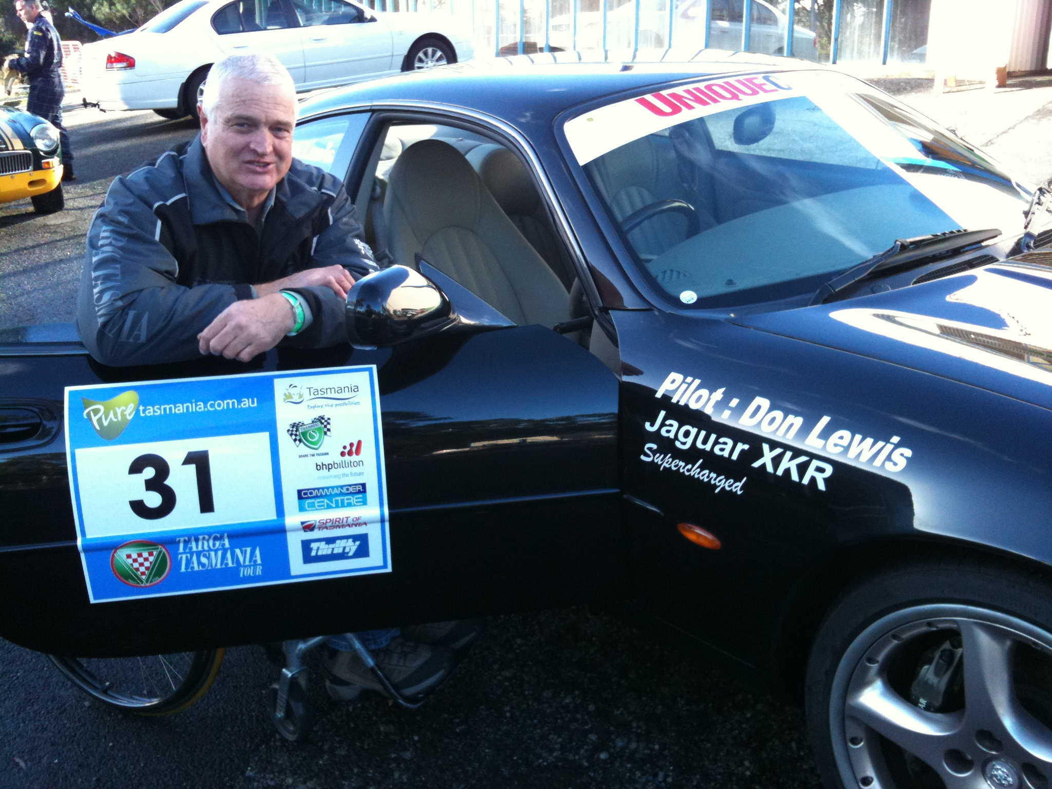 Proudly displaying the Targa Tasmania signage